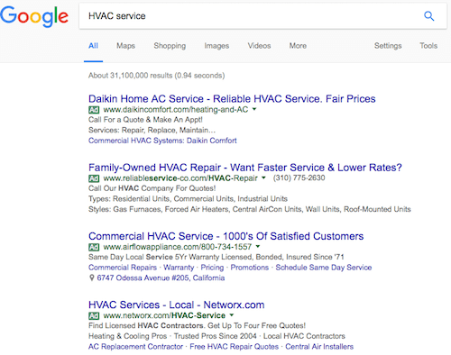 PPC Ad Seen on Google